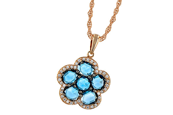 D241-94695: NECK 1.80 ROSE CUT BLUE TOPAZ 1.95 TGW