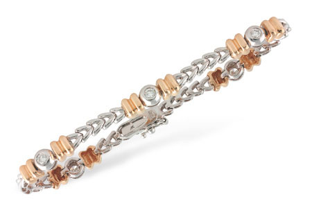 F241-95631: C054-64686 WITH ROSE GOLD BARS .45 TW