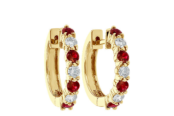 G055-57385: EARRINGS .64 RUBY 1.05 TGW